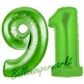 Zahl 91 Grün Luftballons aus Folie zum 91. Geburtstag, 100 cm, inklusive Helium