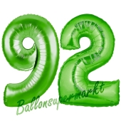 Zahl 92 Grün Luftballons aus Folie zum 92. Geburtstag, 100 cm, inklusive Helium