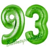 Zahl 93 Grün Luftballons aus Folie zum 93. Geburtstag, 100 cm, inklusive Helium