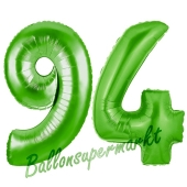 Zahl 94 Grün Luftballons aus Folie zum 94. Geburtstag, 100 cm, inklusive Helium