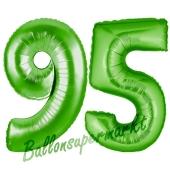Zahl 95 Grün Luftballons aus Folie zum 95. Geburtstag, 100 cm, inklusive Helium