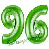 Zahl 96 Grün Luftballons aus Folie zum 96. Geburtstag, 100 cm, inklusive Helium