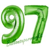 Zahl 97 Grün Luftballons aus Folie zum 97. Geburtstag, 100 cm, inklusive Helium