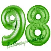 Zahl 98 Grün Luftballons aus Folie zum 98. Geburtstag, 100 cm, inklusive Helium