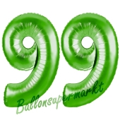 Zahl 99 Grün Luftballons aus Folie zum 99. Geburtstag, 100 cm, inklusive Helium