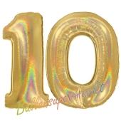 Zahl 10, Holografisch, Gold, Luftballons aus Folie zum 10. Geburtstag, 100 cm, inklusive Helium