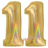 Zahl 11, Holografisch, Gold, Luftballons aus Folie zum 11. Geburtstag, 100 cm, inklusive Helium