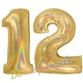 Zahl 12, Holografisch, Gold, Luftballons aus Folie zum 12. Geburtstag, 100 cm, inklusive Helium