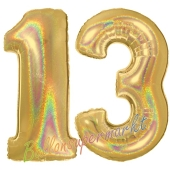 Zahl 13, Holografisch, Gold, Luftballons aus Folie zum 13. Geburtstag, 100 cm, inklusive Helium