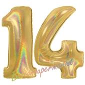 Zahl 14, Holografisch, Gold, Luftballons aus Folie zum 14. Geburtstag, 100 cm, inklusive Helium