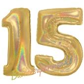 Zahl 15, Holografisch, Gold, Luftballons aus Folie zum 15. Geburtstag, 100 cm, inklusive Helium