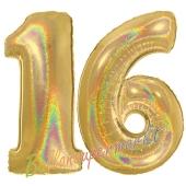 Zahl 16, holografisch, Gold, Luftballons aus Folie zum 16. Geburtstag, 100 cm, inklusive Helium