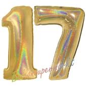 Zahl 17, Holografisch, Gold, Luftballons aus Folie zum 17. Geburtstag, 100 cm, inklusive Helium