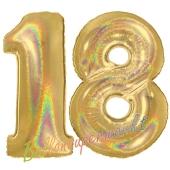 Zahl 18, holografisch, Gold, Luftballons aus Folie zum 18. Geburtstag, 100 cm, inklusive Helium