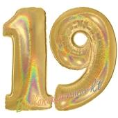 Zahl 19, Holografisch, Gold, Luftballons aus Folie zum 19. Geburtstag, 100 cm, inklusive Helium
