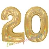 Zahl 20, Holografisch, Gold, Luftballons aus Folie zum 20. Geburtstag, 100 cm, inklusive Helium