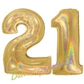Zahl 21, holografisch, Gold, Luftballons aus Folie zum 21. Geburtstag, 100 cm, inklusive Helium