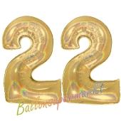 Zahl 22, holografisch, Gold, Luftballons aus Folie zum 22. Geburtstag, 100 cm, inklusive Helium