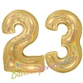Zahl 23, holografisch, Gold, Luftballons aus Folie zum 23. Geburtstag, 100 cm, inklusive Helium