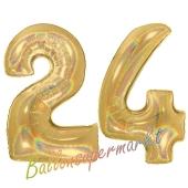 Zahl 24, holografisch, Gold, Luftballons aus Folie zum 24. Geburtstag, 100 cm, inklusive Helium