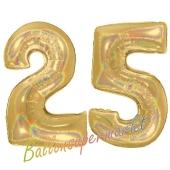 Zahl 25, holografisch, Gold, Luftballons aus Folie zum 25. Geburtstag, 100 cm, inklusive Helium