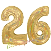 Zahl 26, holografisch, Gold, Luftballons aus Folie zum 26. Geburtstag, 100 cm, inklusive Helium