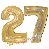 Zahl 27, holografisch, Gold, Luftballons aus Folie zum 27. Geburtstag, 100 cm, inklusive Helium