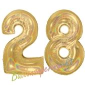 Zahl 28, holografisch, Gold, Luftballons aus Folie zum 28. Geburtstag, 100 cm, inklusive Helium