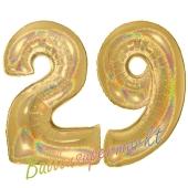 Zahl 29, holografisch, Gold, Luftballons aus Folie zum 29. Geburtstag, 100 cm, inklusive Helium