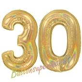 Zahl 30, holografisch, Gold, Luftballons aus Folie zum 30. Geburtstag, 100 cm, inklusive Helium