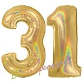 Zahl 31, holografisch, Gold, Luftballons aus Folie zum 31. Geburtstag, 100 cm, inklusive Helium
