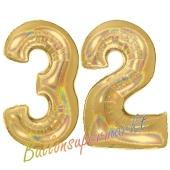 Zahl 32, holografisch, Gold, Luftballons aus Folie zum 32. Geburtstag, 100 cm, inklusive Helium