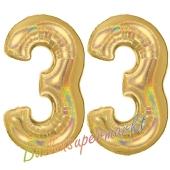 Zahl 33, holografisch, Gold, Luftballons aus Folie zum 33. Geburtstag, 100 cm, inklusive Helium