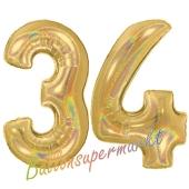 Zahl 34, holografisch, Gold, Luftballons aus Folie zum 34. Geburtstag, 100 cm, inklusive Helium