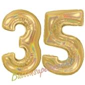 Zahl 35, holografisch, Gold, Luftballons aus Folie zum 35. Geburtstag, 100 cm, inklusive Helium