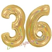 Zahl 36, holografisch, Gold, Luftballons aus Folie zum 36. Geburtstag, 100 cm, inklusive Helium