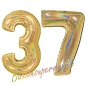 Zahl 37, holografisch, Gold, Luftballons aus Folie zum 37. Geburtstag, 100 cm, inklusive Helium