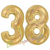 Zahl 38, holografisch, Gold, Luftballons aus Folie zum 38. Geburtstag, 100 cm, inklusive Helium