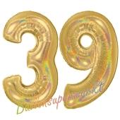 Zahl 39, holografisch, Gold, Luftballons aus Folie zum 39. Geburtstag, 100 cm, inklusive Helium