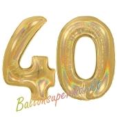 Zahl 40, holografisch, Gold, Luftballons aus Folie zum 40. Geburtstag