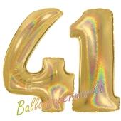 Zahl 41, holografisch, Gold, Luftballons aus Folie zum 41. Geburtstag, 100 cm, inklusive Helium