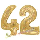 Zahl 42, holografisch, Gold, Luftballons aus Folie zum 42. Geburtstag, 100 cm, inklusive Helium