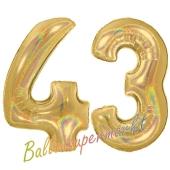 Zahl 43, holografisch, Gold, Luftballons aus Folie zum 43. Geburtstag, 100 cm, inklusive Helium