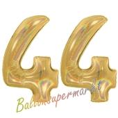 Zahl 44, holografisch, Gold, Luftballons aus Folie zum 44. Geburtstag, 100 cm, inklusive Helium