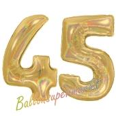 Zahl 45, holografisch, Gold, Luftballons aus Folie zum 45. Geburtstag, 100 cm, inklusive Helium