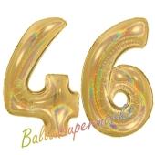 Zahl 46, holografisch, Gold, Luftballons aus Folie zum 46. Geburtstag, 100 cm, inklusive Helium