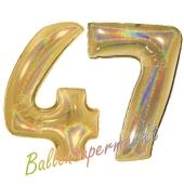 Zahl 47, holografisch, Gold, Luftballons aus Folie zum 47. Geburtstag, 100 cm, inklusive Helium