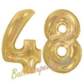 Zahl 48, holografisch, Gold, Luftballons aus Folie zum 48. Geburtstag, 100 cm, inklusive Helium