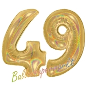 Zahl 49, holografisch, Gold, Luftballons aus Folie zum 49. Geburtstag, 100 cm, inklusive Helium