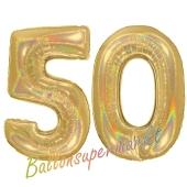 Zahl 50, holografisch, Gold, Luftballons aus Folie zum 50. Geburtstag, 100 cm, inklusive Helium